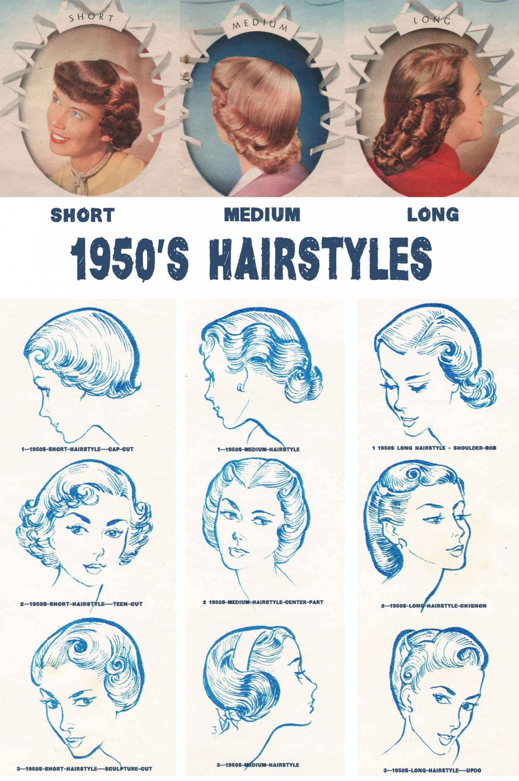 11s Hairstyles Chart For Your Hair Length Glamour Daze 50S Updo Hairstyles For Long Hair