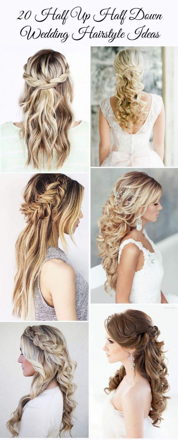 12 Awesome Half Up Half Down Wedding Hairstyle Ideas Wedding Hairstyles For Long Hair Half Up