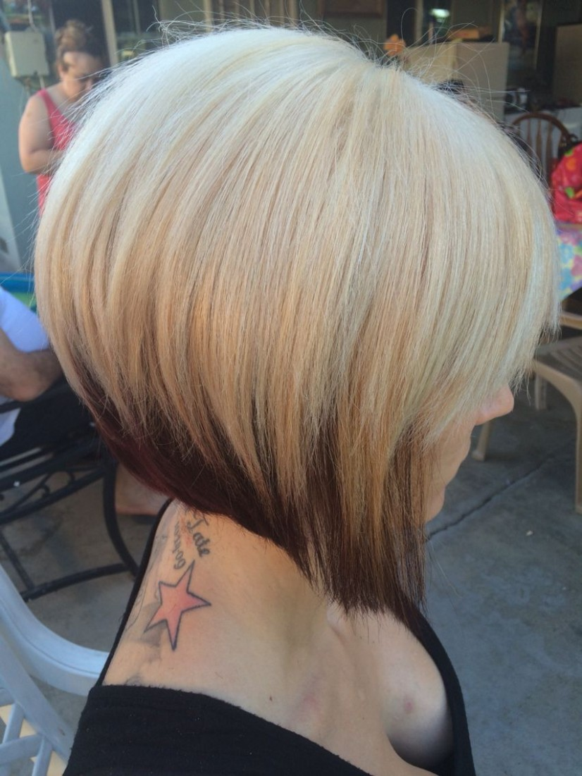 A line Bob two toned hair   Two toned hair, Hair styles, Short