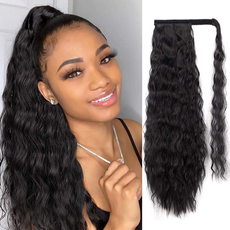AISI QUEENS Long Ponytail Extensions For Black Women Synthetic 8 Inch Curly Wrap Around Black Ponytail Corn Wave Ponytail Hairpiece Magic Paste Black Long High Ponytail