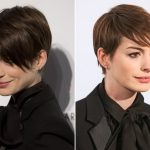Anne Hathaway's Short Pixie Hairstyle With Hair That Rests On The Anne Hathaway Pixie Cut