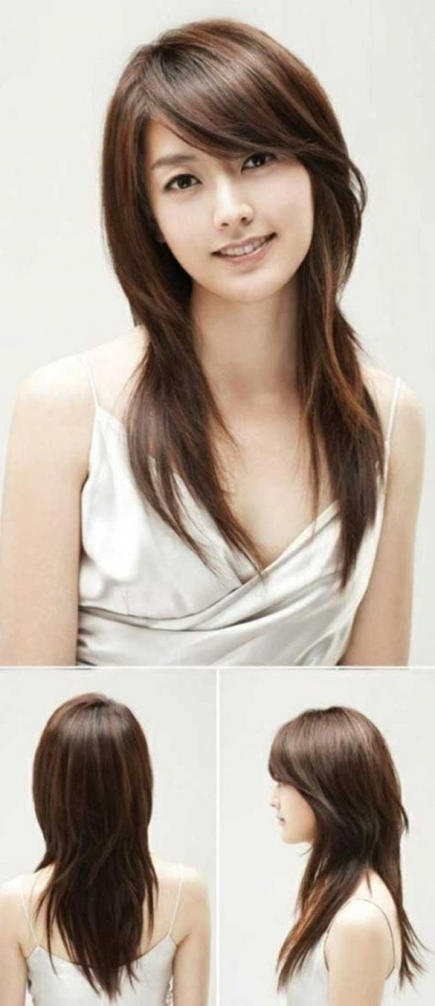 Asian Straight Layered Hair With Side Bangs Asian Side Swept Bangs Side Bang Styles