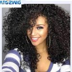 ATOZWIG Kinky Curly Afro Wig 9″ Long Kinky Curly Wigs For Black Women Black Hair Wig African American Synthetic Cheap Wigs For Women Long Afro