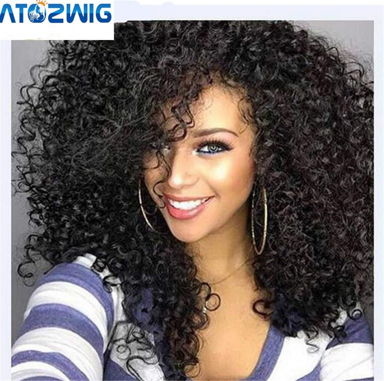 """ATOZWIG Kinky Curly Afro Wig 9"""" Long Kinky Curly Wigs For Black Women Black Hair Wig African American Synthetic Cheap Wigs For Women Long Afro"""