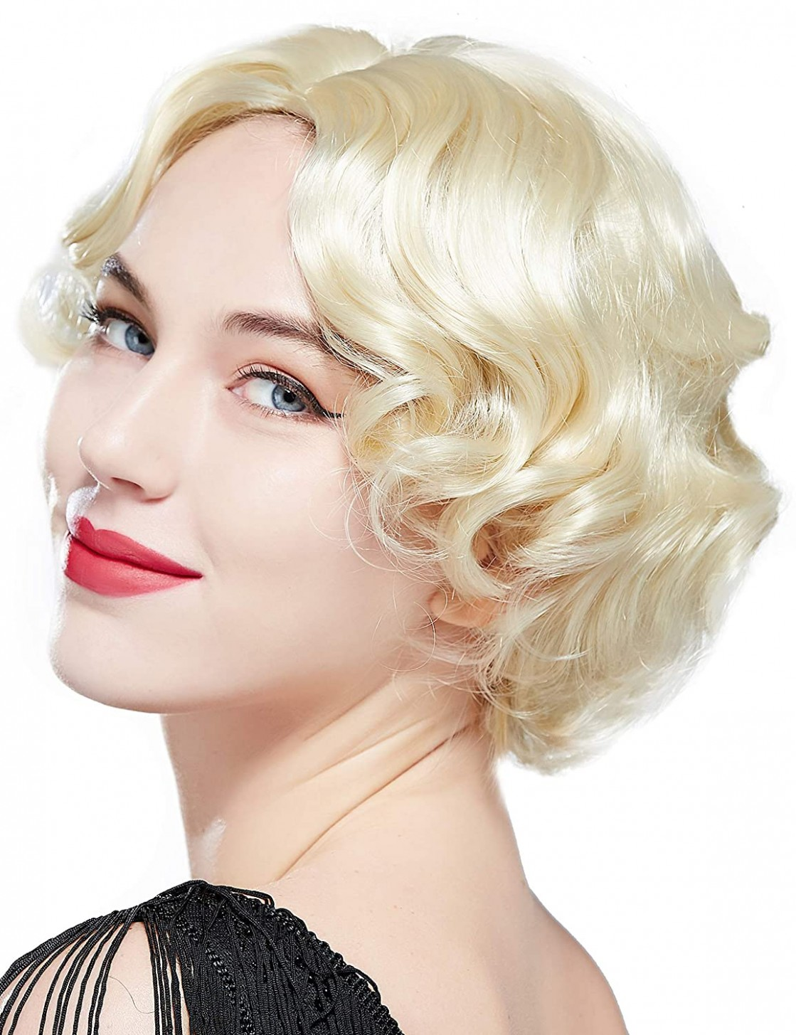 BABEYOND 10s Flapper Finger Wig Great Gatsby Short Curly Bob Wig Flapper  Costume Hair Wigs Accessory (Light Gold)