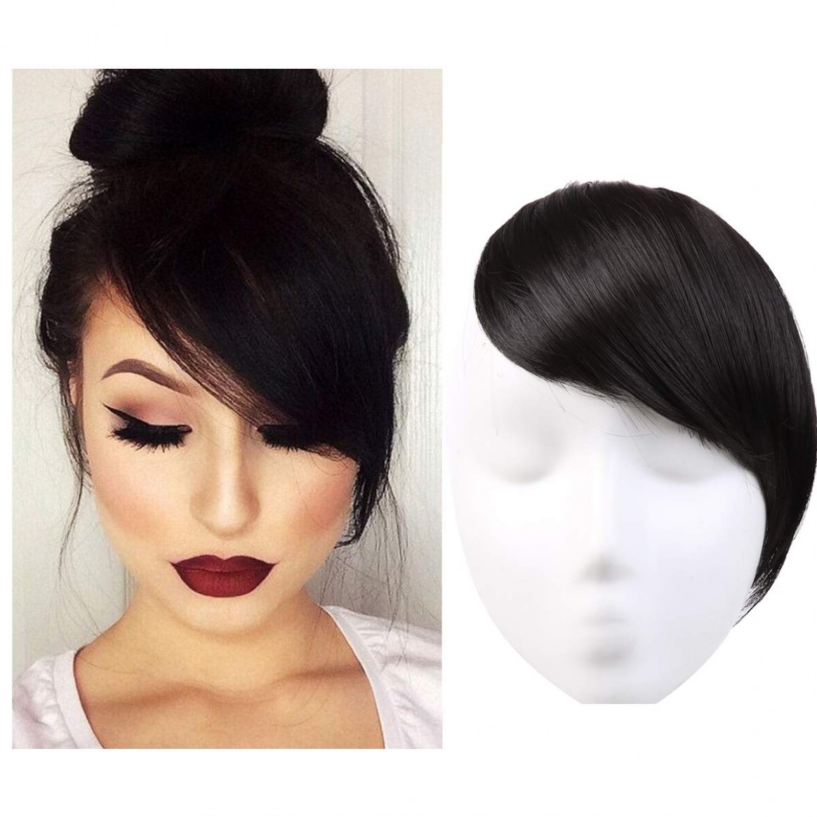 Bangs Hair Clip In/on Off Black Synthetic Side Bangs Natural Straight Hair Pieces Extensions One Piece For Women SARLA B10&10 Side Bang Styles