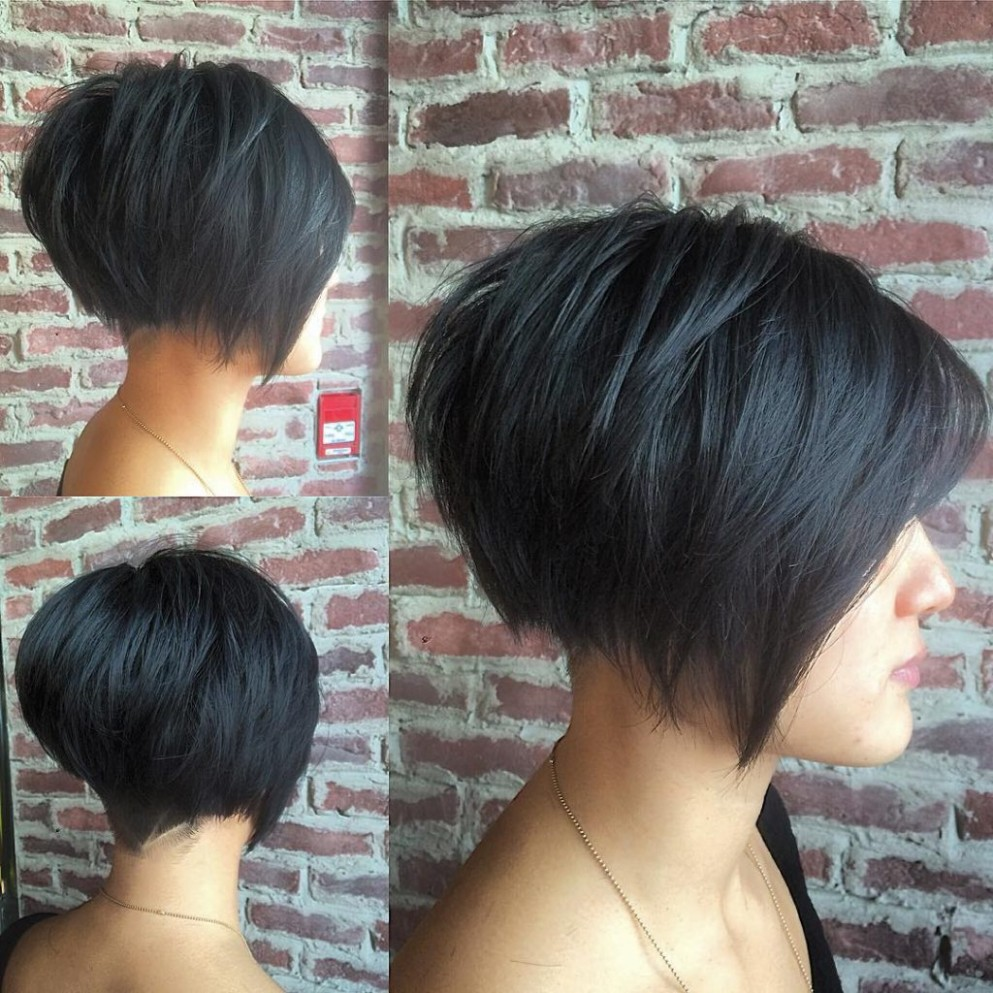 Black Undercut Bob with Choppy Graduated Layers and Shaved Nape