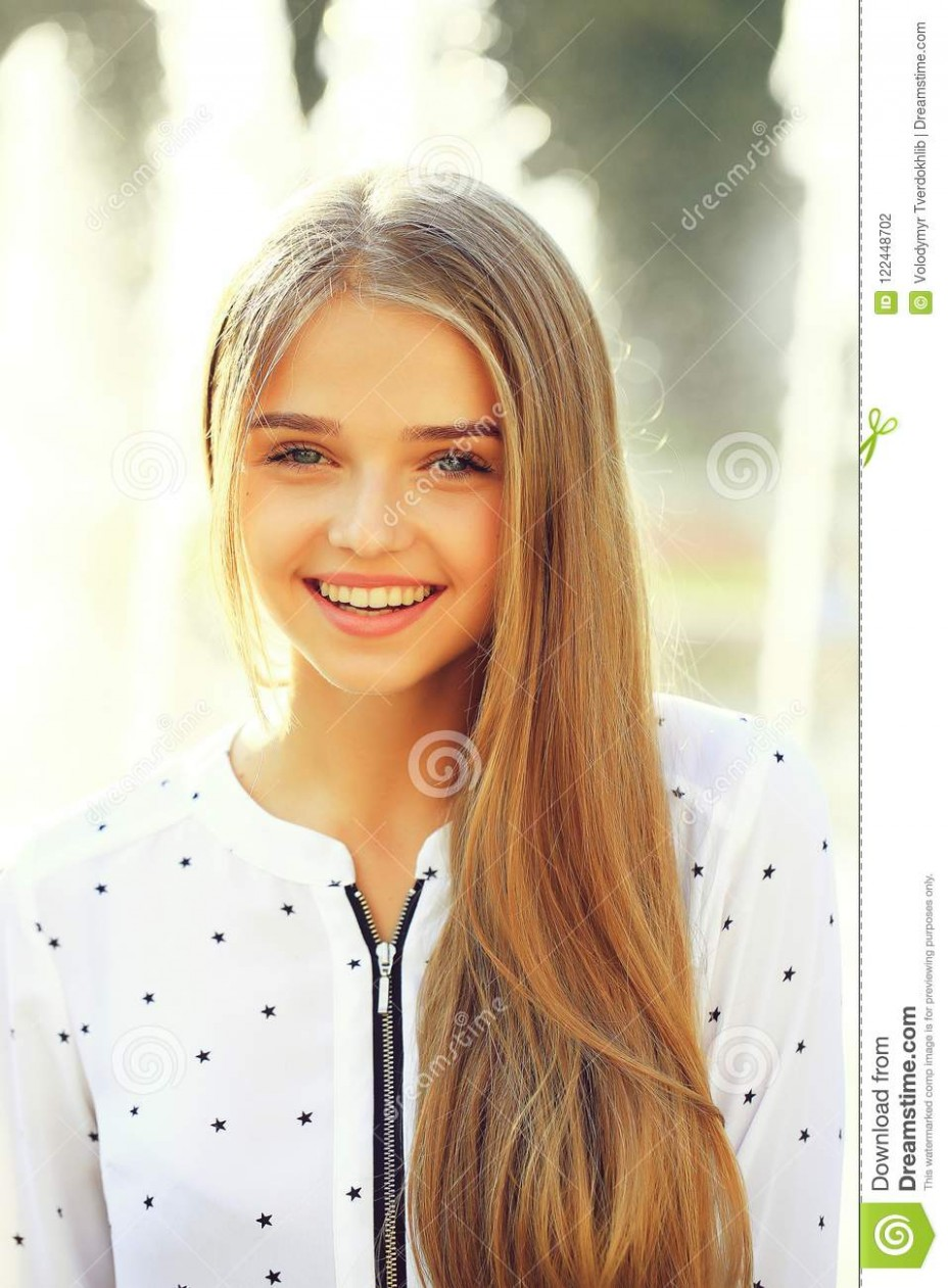 Blonde Cute Girl On Sunny Day Stock Photo Image Of White, Cute Long Hair Cute Girl