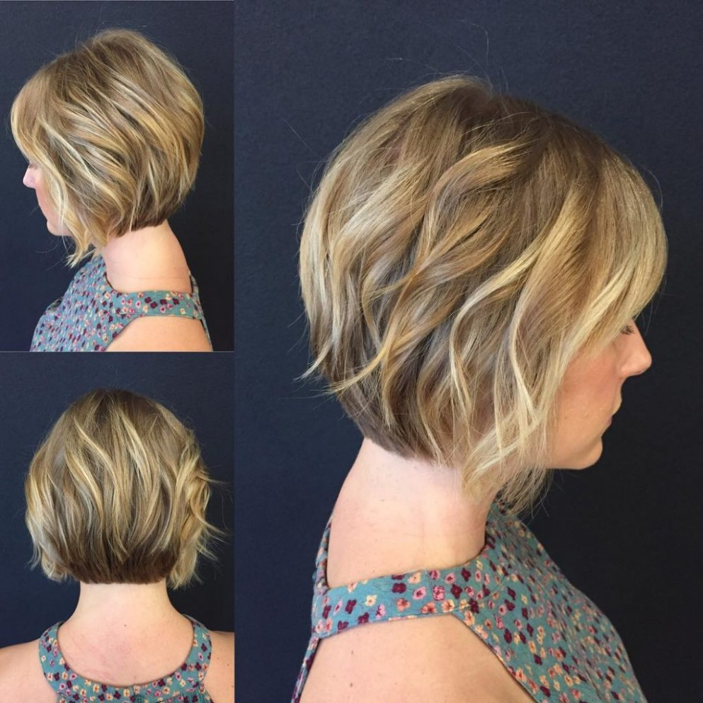Blonde Stacked Angled Bob With Added Wavy Texture The Latest Stacked Angled Bob