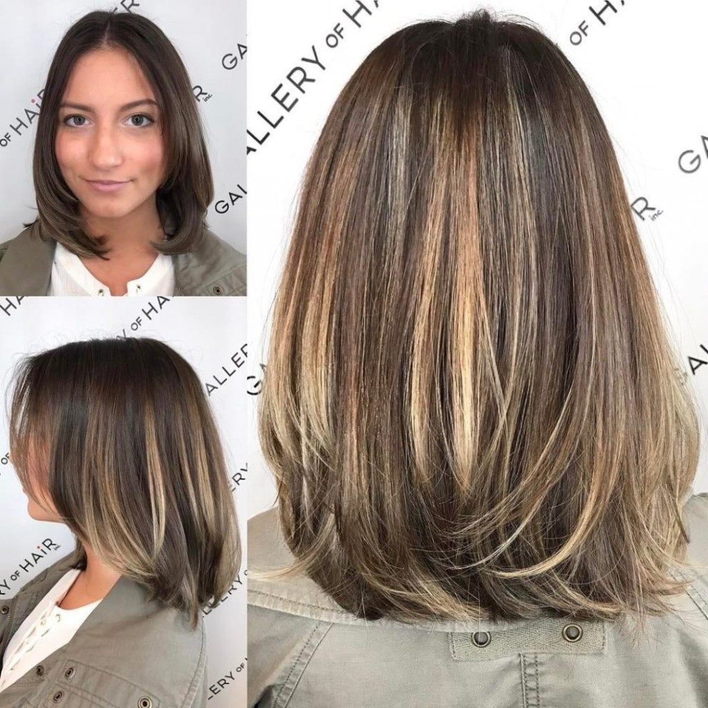 Brunette Layered Blowout Bob With Face Framing Layers And Color Face Framing Layers Short Hair