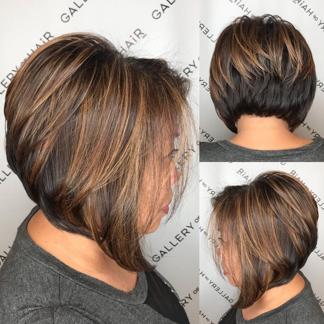 Brunette Stacked Angled Bob With Caramel Highlights The Latest Stacked Angled Bob