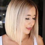 Centre Parted Creamy Blonde Lob Bob Hairstyles For Round Face Bobs For Round Faces And Thick Hair