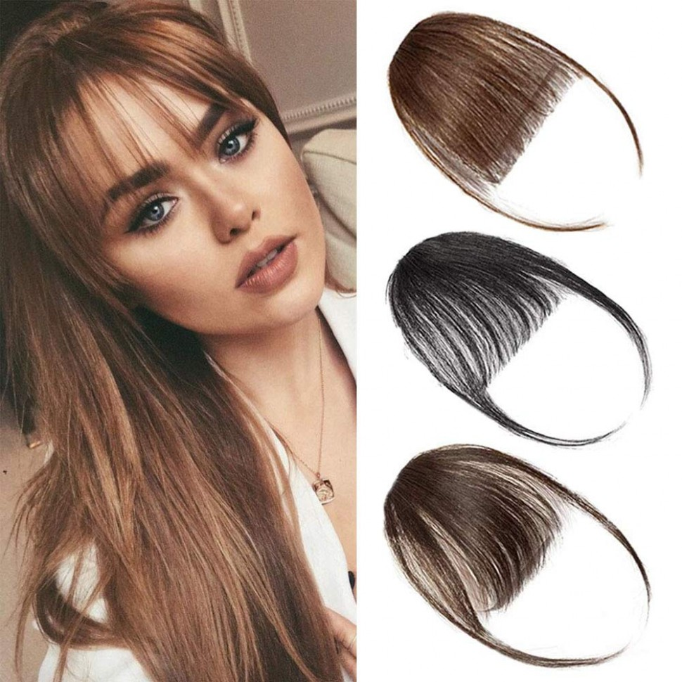 Clip in Bangs Hair Extensions Front Bangs Extensions Hair Clip on Bangs  Black Brown Thin Hair Bangs Clip in Hairpieces for Women