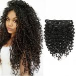 Clip In Human Hair Extensions Afro Jerry Curly 12B 12C Real Hair Clip In Extensions For Black Women Natural Black Color 12% Brazilian African American 3B Curly Hairstyles