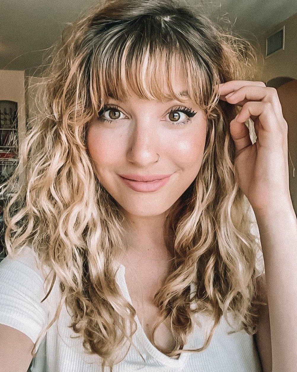 Curled Hairstyle With Side Swept Bangs In 9 Straight Bangs Curly Side Swept Bangs