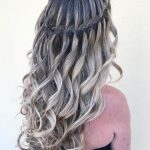 Curly Hairstyle With Waterfall Braid Waterfall Braid Hairstyle Waterfall Braid With Curls