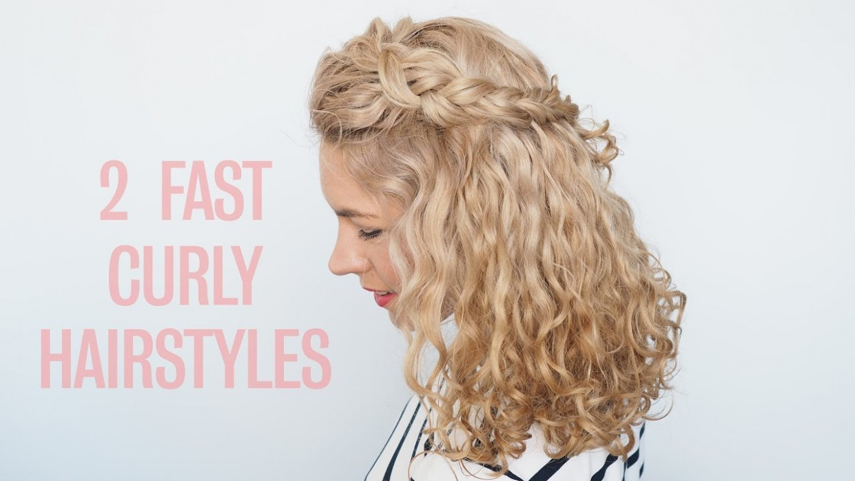 Curly Hairstyles In Seconds! Two Fast Half Up Hairstyles Half Up Curly Hair