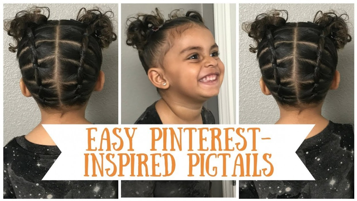 Easy Beginner Pinterest Inspired Pigtail Hairstyle Tutorial For Curly Short Biracial Toddler In 8K Biracial Hairstyles For Toddlers