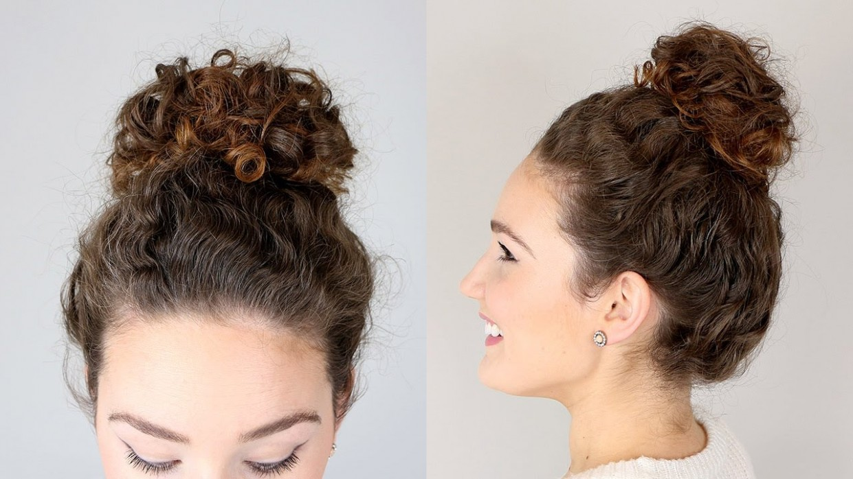 Easy Messy Bun Hairstyle For Natural Curls Curly Hair Bun Hairstyles