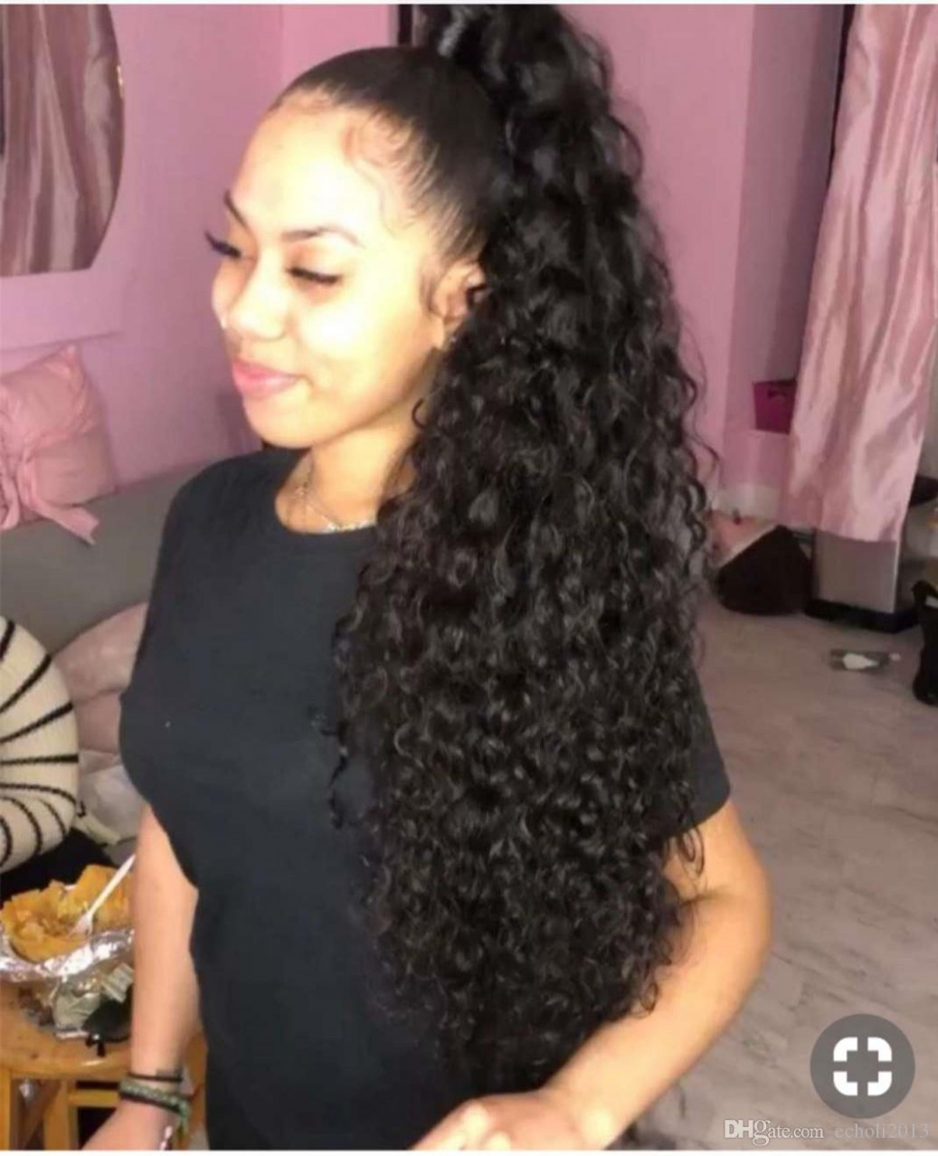 Großhandel Long High Ponytail Extension Haarteil Curly 8 Long High Ponytail