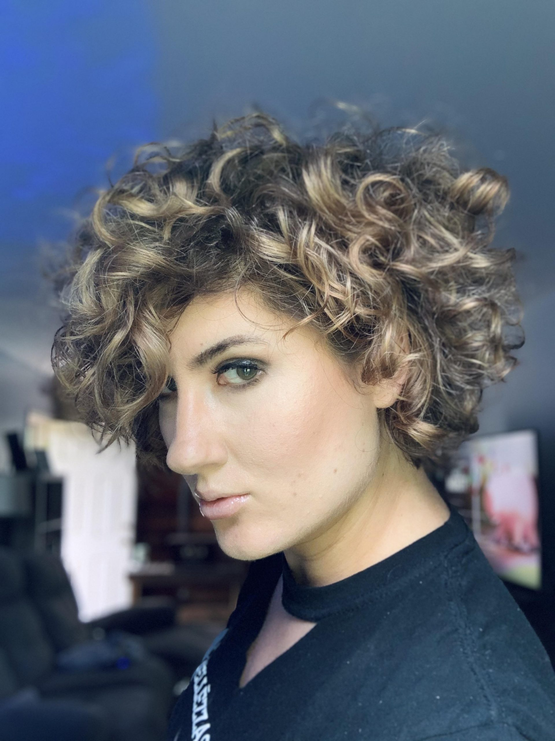 Growling out my curly pixie, now it's a bob-ish, haven't had long