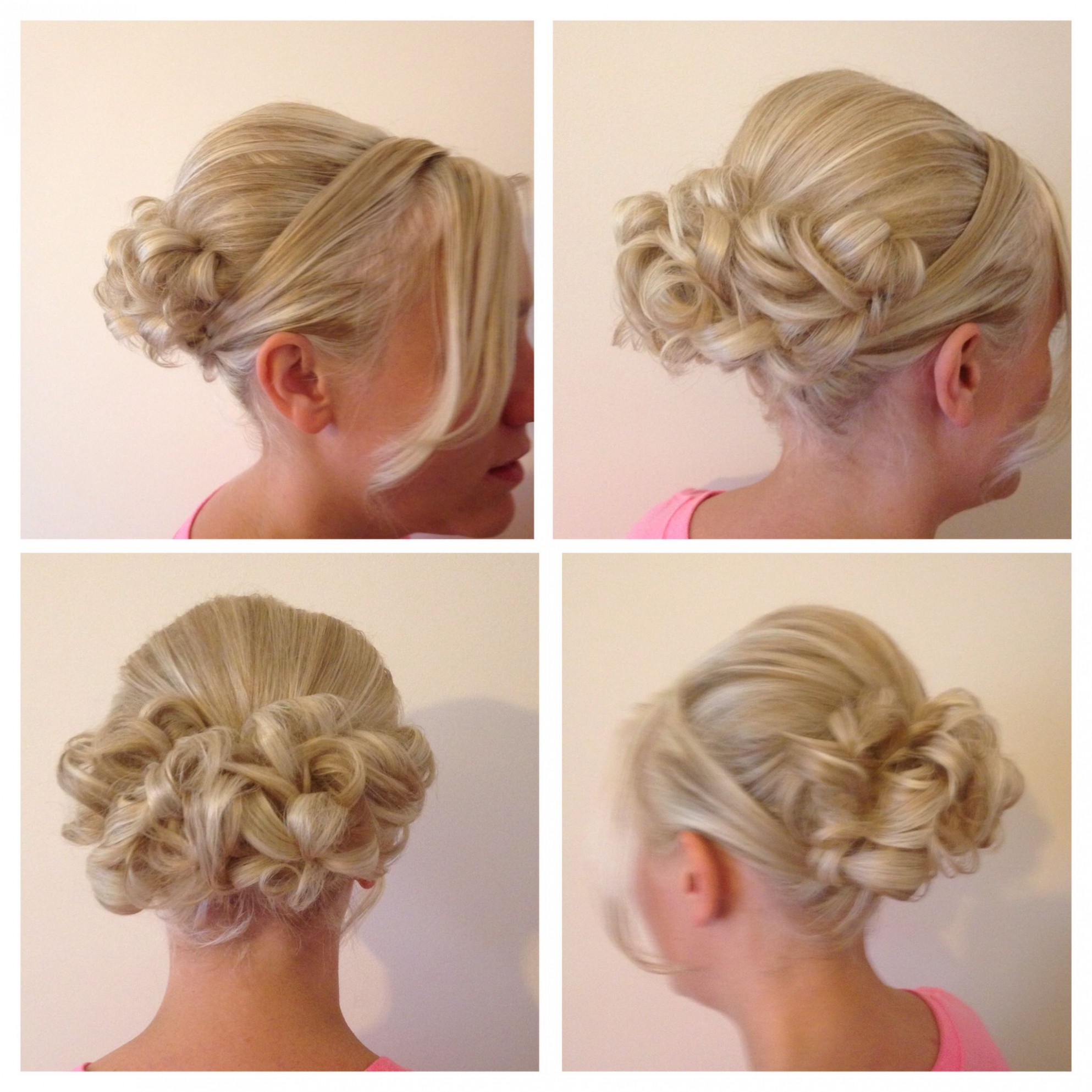 Hair Up Boof With Curls Pinned Up At The Back,sides Swept Round Pinned Up Curls