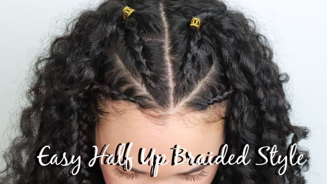 HALF UP BRAIDED HAIRSTYLE FOR CURLY HAIR EASY FALL HAIRSTYLE Half Braids Half Curls