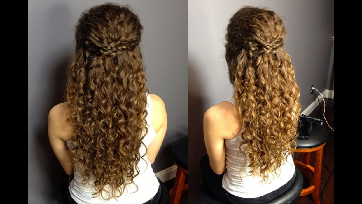 Half Up Half Down Updo For Naturally Curly Hair: Easy Braided Hairstyle!MADSCustomHairDesign Curly Half Updo