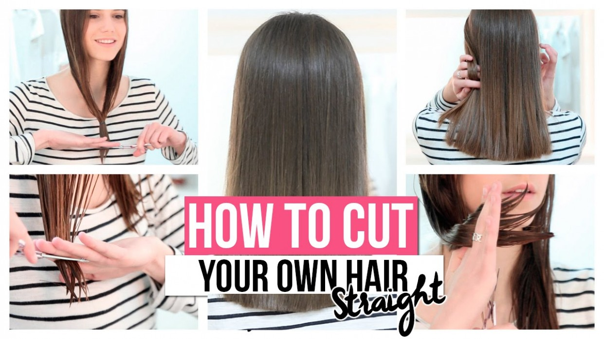 HOW TO CUT YOUR OWN HAIR STRAIGHT Cutting Long Hair At Home