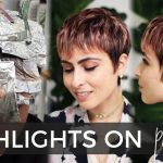 How To Do Highlights On A Short Pixie Haircut (easy Technique!) With BONUS Rose Gold Color Formula! Dark Pixie Cut With Highlights