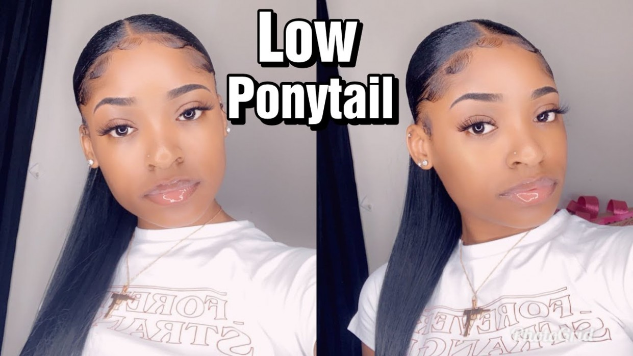 HOW TO Sleek Low Ponytail On Short Natural Hair With Weave