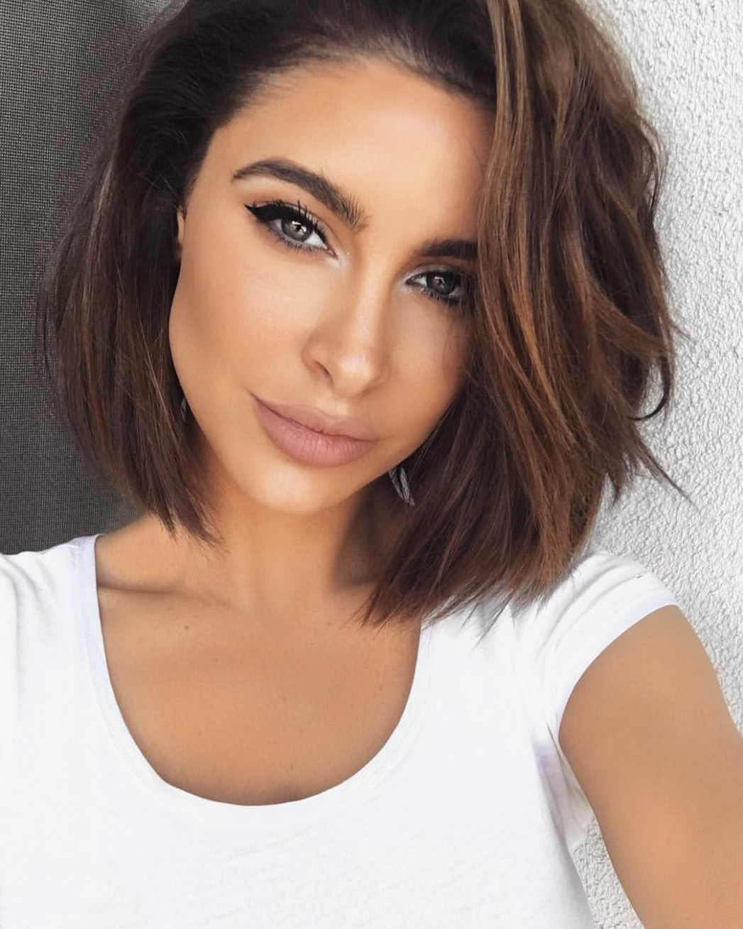 Jawline As Sharp As The Winged Liner Thick Hair Styles, Short Short Brunette Hairstyles
