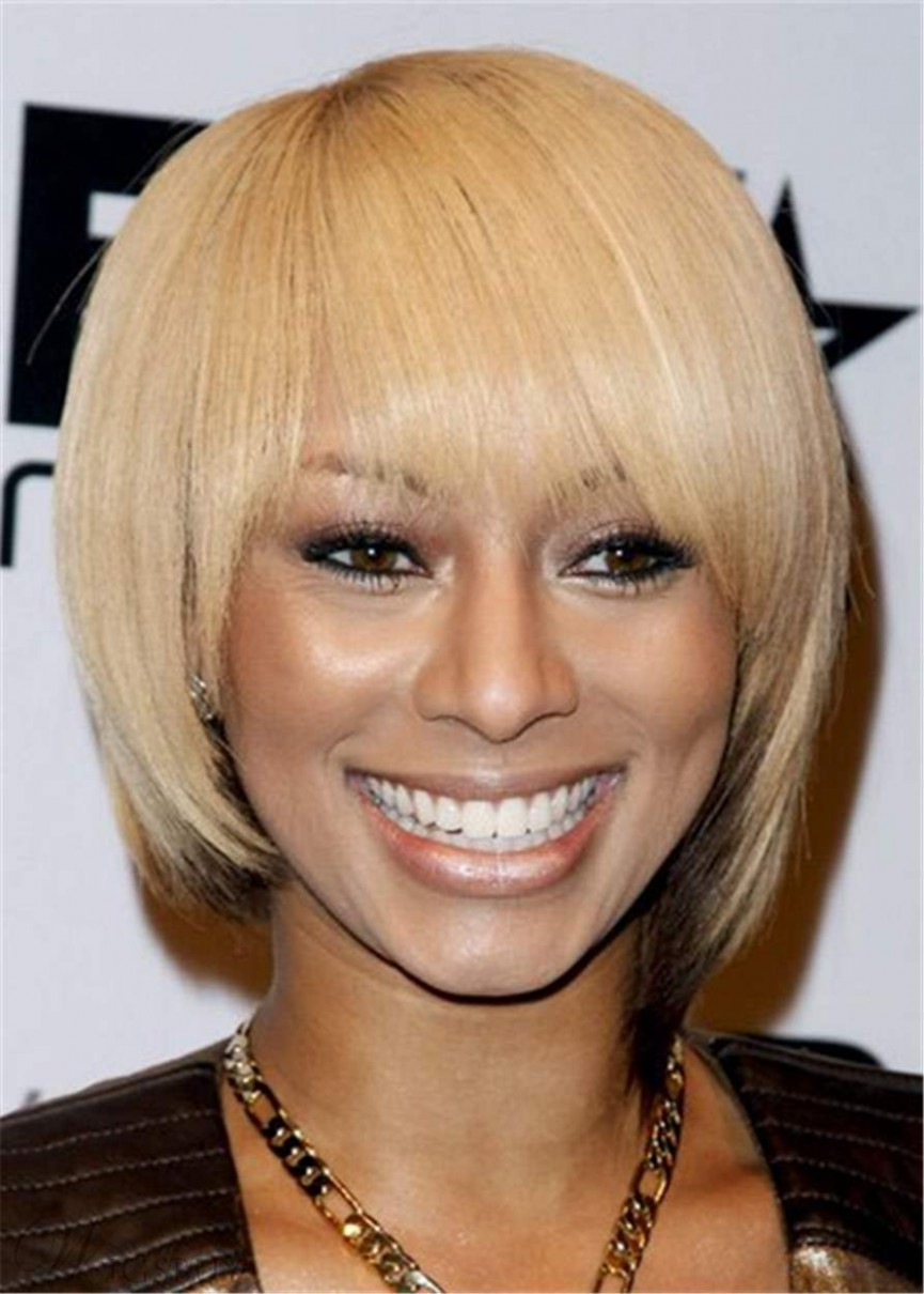 Keri Hilson Short Straight Bob Hairstyle With Bangs African