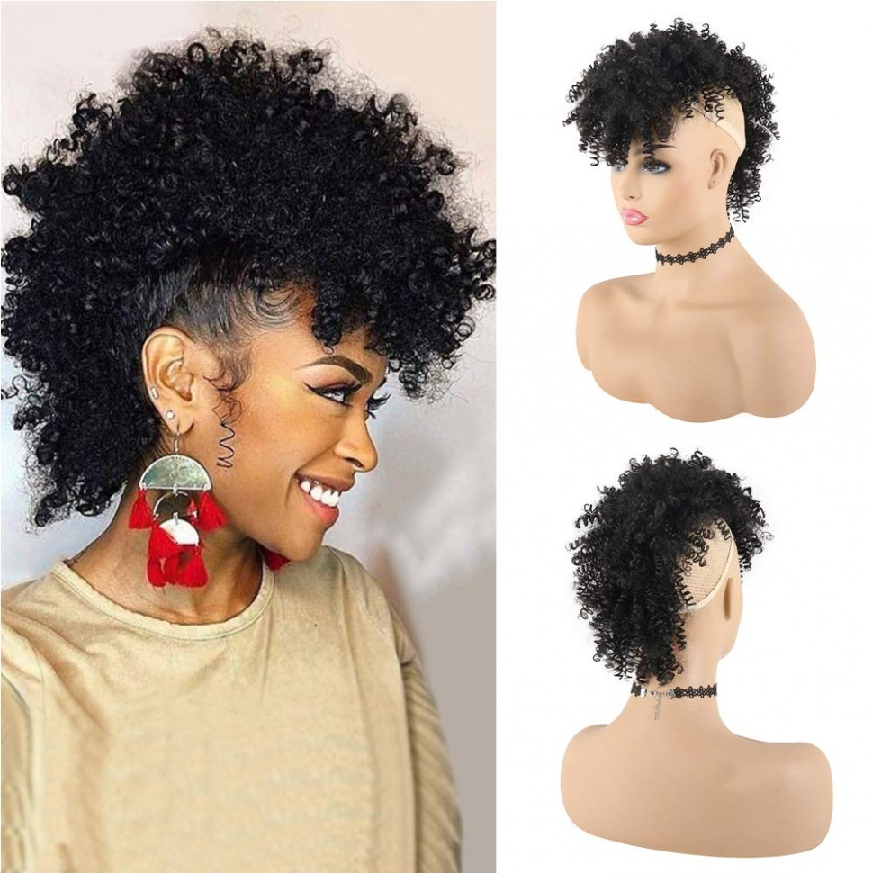 KRSI Afro High Puff Afro High Puff Hair Bun Ponytail Drawstring With Bangs Synthetic Jerry Curly Mohawk Kinkys Curly Fauxhawks Pony Tail Clip In On Curly Mohawk