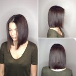 Long Blunt Bob With Center Part And Warm Brunette Color The Blunt Cut Medium Length