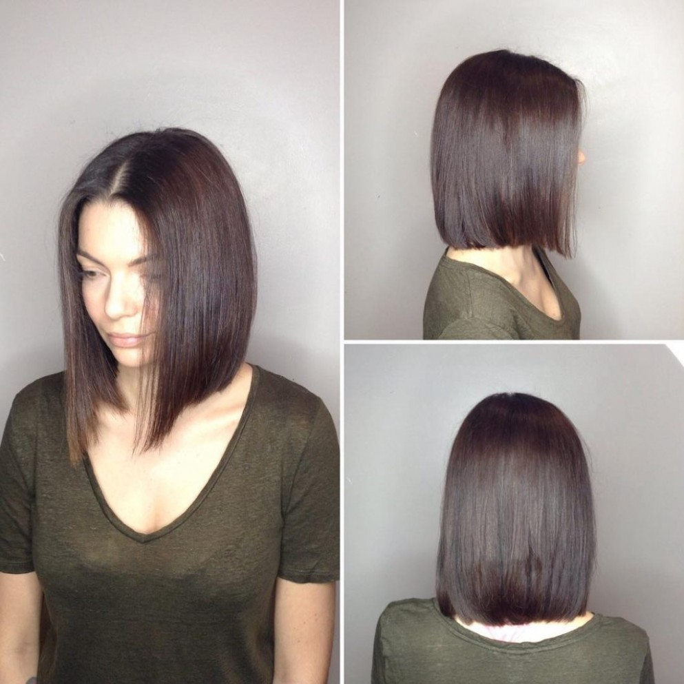 Long Blunt Bob with Center Part and Warm Brunette Color - The