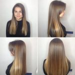 Long Blunt Cut With Long Parted Bangs And Bronde Balayage By Long Parted Bangs