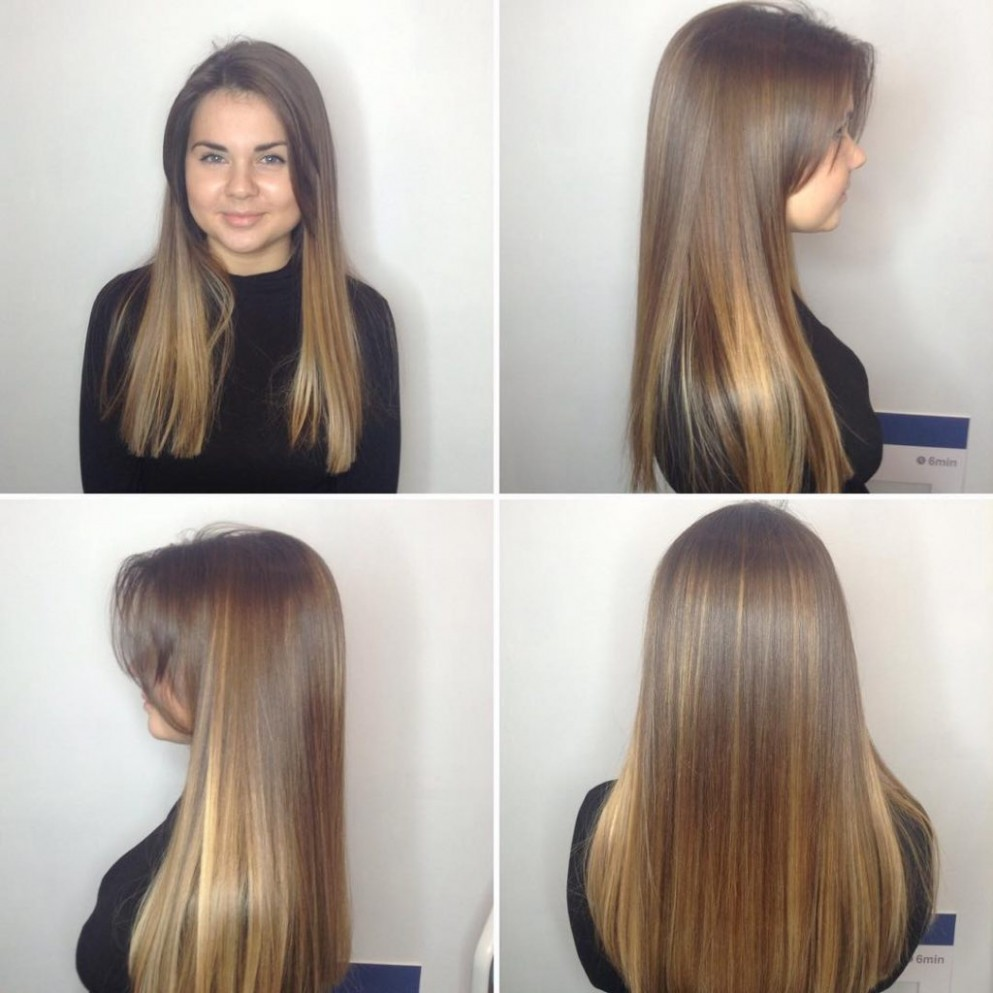 Long Blunt Cut With Long Parted Bangs And Bronde Balayage The Blunt Hair Cut Long