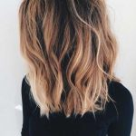 Long Bob With Long Layers Dark Brown Roots With Caramel And Long Lob With Layers