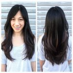 Long Fringe Layers With Parted Bangs And Brunette Color The Long Parted Bangs