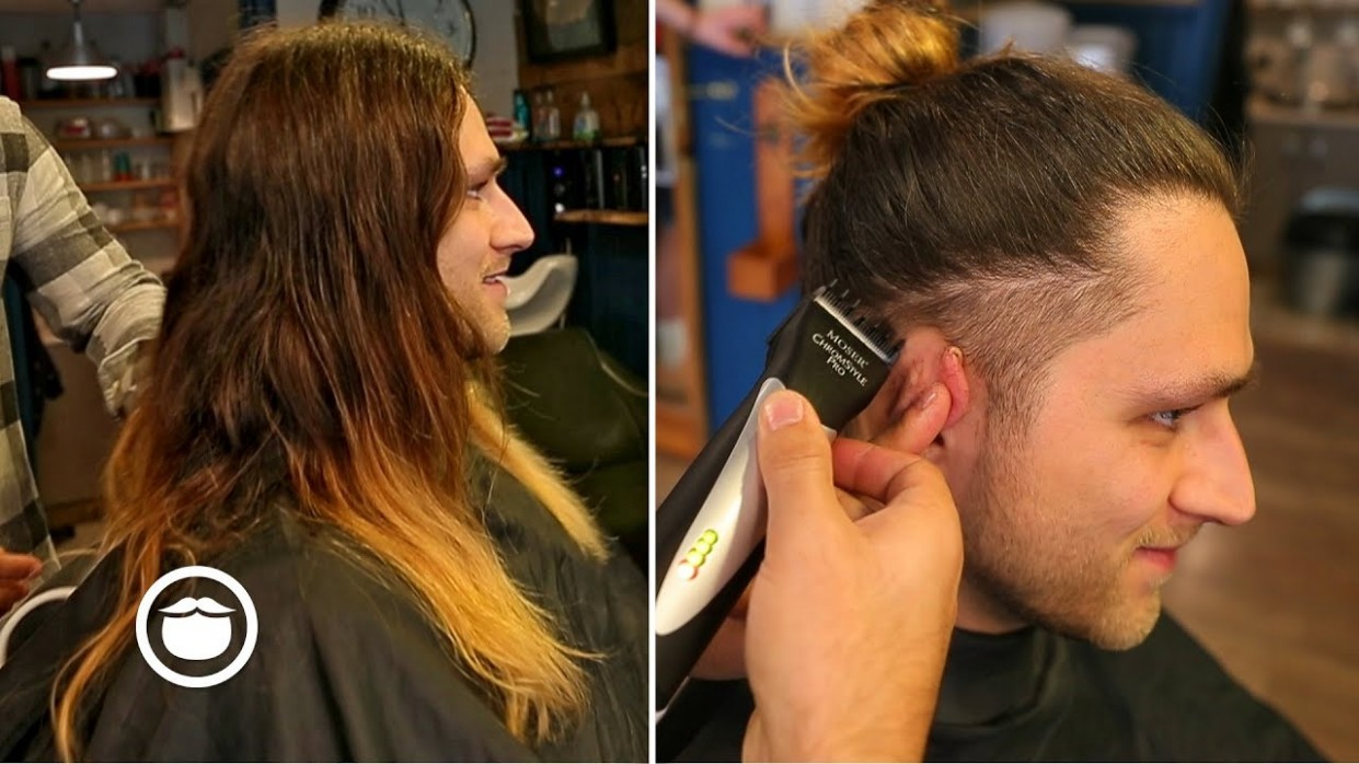 Long Hair With Taper Fade Barbershop Haircut Long Hair With Tapered Sides