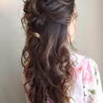Messy Curly Half Updo For Long Hair Bridemaids Hairstyles, Long Curly Half Updo