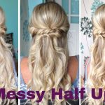 Messy Half Up Half Down Curly Hairstyle Weddings Proms Bridesmaid Bridal Hairstyles Curly Wedding Hairstyles Half Up Half Down