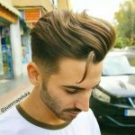 Mid Fade Haircut Long Hair On Top Brushed Back Mid Fade Long Hair Fade Cut