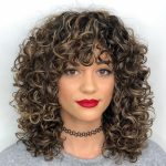 Mid Length Curly Hairstyle With Curly Bangs In 10 Medium Curly Medium Curly Hair