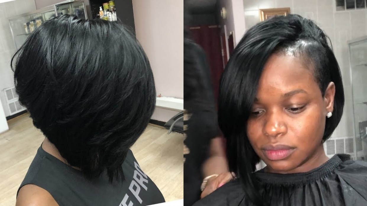 Partial Layered Bob Quickweave SHAVED SIDE Shaved Side Bob Black Hairstyles