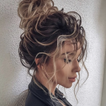 Pin On BUNS AND PONYS Curly Hair Bun Hairstyles