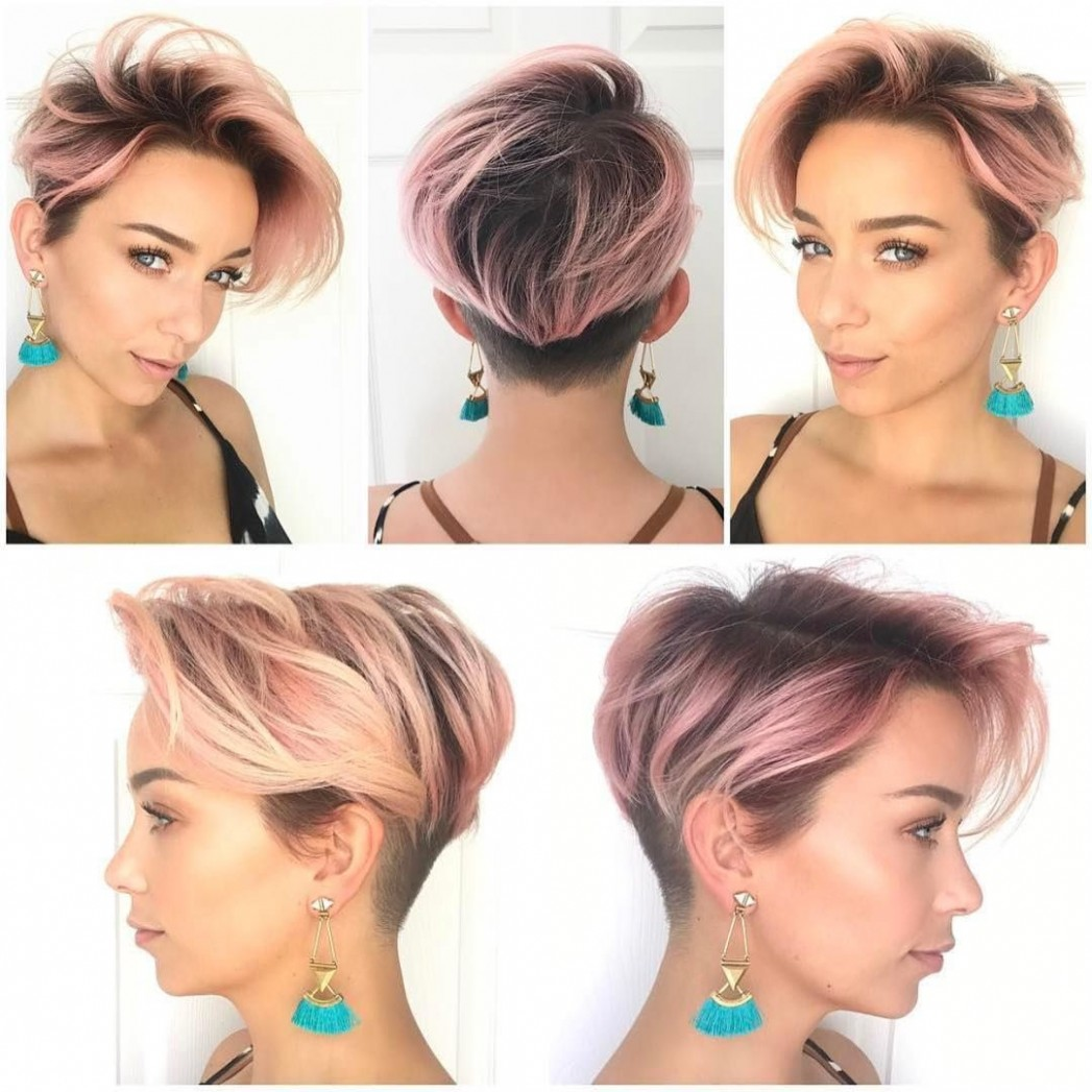 Pink Layered Undercut Pixie The Latest Hairstyles For Men And Undercut Long Pixie