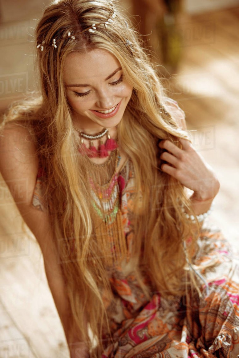 Portrait Of Young Smiling Hippie Woman Touching Long Hair And D8 8 8 Long Hippie Hair