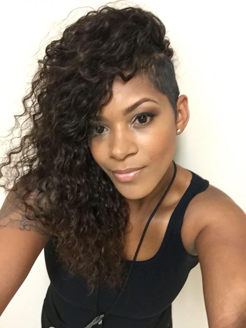 Sew In With Shaved Sides Shaved Side Hairstyles, Braids With Side Shaved Curly Hair